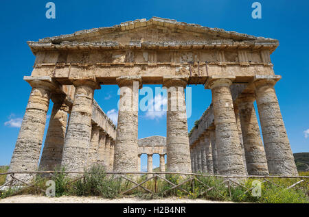 Ancient Temple of Segesta, Province of Trapani, Sicily, Italy - Stock Photo