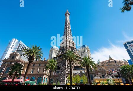 Replica of Eiffel Tower, Paris Hotel, Las Vegas, Nevada, USA - Stock Photo