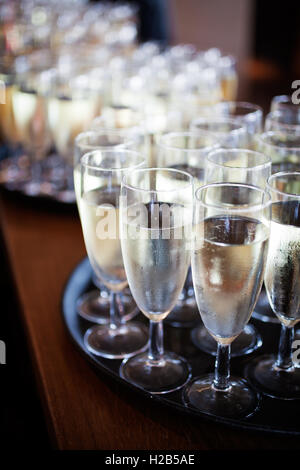 Bunch of glasses with sparkling wine - Stock Photo