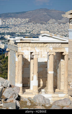 Temple of Athena Nike in Acropolis of Athens, Greece - Stock Photo