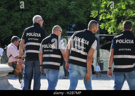 Portuguese Police looking out for football supporters causing trouble in Lisbon - Stock Photo