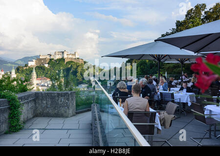 Salzburg: restaurant at Museum der Moderne, old town, Hohensalzburg Castle, view from Mönchsberg, , Salzburg, Austria - Stock Photo