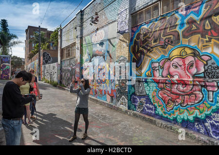 Murals and graffiti art on walls in Clarion Alley, in the Mission District of San Francisco. California, USA. - Stock Photo