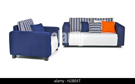 Indoor outdoor sofa with pillows and in blue-and-white fabrics - Stock Photo