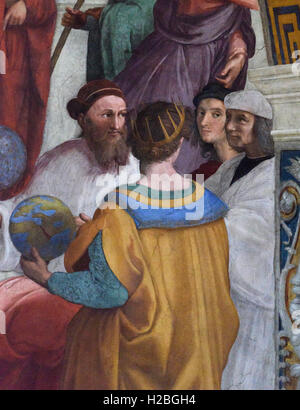 Raphael (1483-1520), Detail of the School of Athens fresco showing Self Portrait of the artist (second from the - Stock Photo