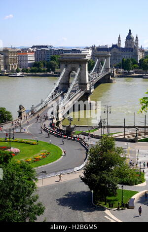 View across the Danube, looking to Pest from Buda, with the Chain Bridge, and St Stephen's Basilica in the distance, - Stock Photo