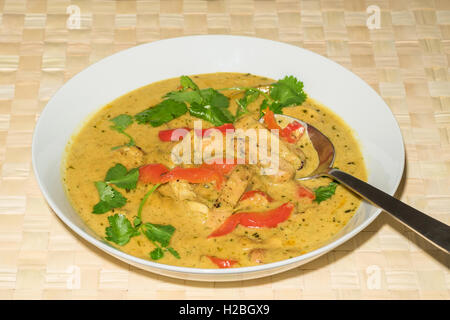 Chicken Penang curry - marinated chicken in a fragrant coconut and lime sauce with spiced vegetable's and fresh - Stock Photo
