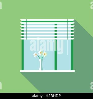 Digital vector flowers in vase on a window with venetian blind, over green background, flat style - Stock Photo