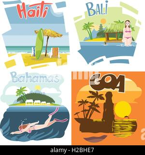 Digital vector touristic vacation destination set, Haiti, Bahamas, Bali and Goa, girl surfing and diving, sunset, - Stock Photo