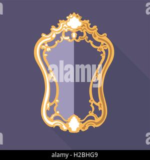 Digital vector golden and purple vintage mirror isolated, flat style - Stock Photo