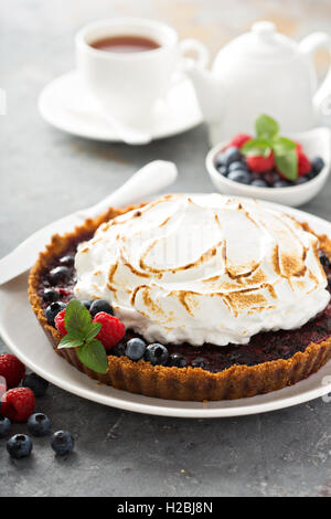 Berry tart with meringue - Stock Photo