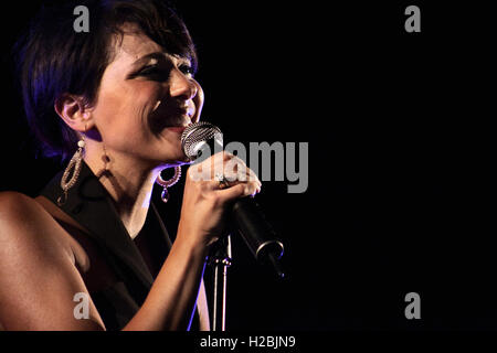 Italian jazz singer Simona Molinari performs live during her tour 'Loving Ella'. - Stock Photo