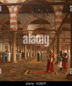 Jean-Leon Gerome (1824-1904). French painter. Player in the Mosque, 1871. Scene interior mosque of 'Amr in Cairo, - Stock Photo