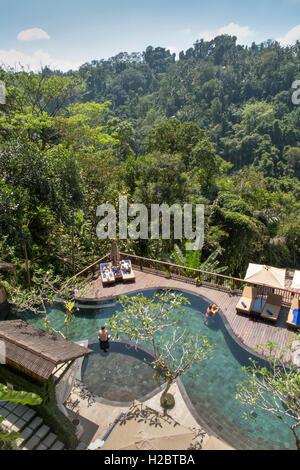Indonesia, Bali, Payangan, Susut, Nandini Jungle Resort and Spa hotel swimming pool, elevated view - Stock Photo