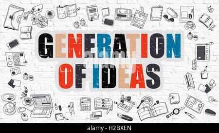Generation of Ideas Concept with Doodle Design Icons. - Stock Photo