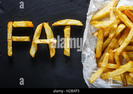Unhealthy food concept - french fries on slate board - Stock Photo