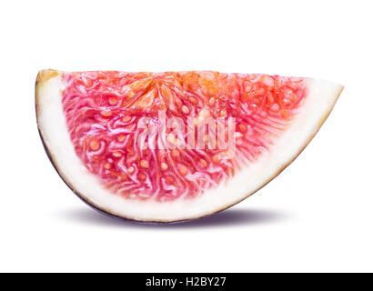 One piece of sliced ripe figs isolated on white background clipping path - Stock Photo