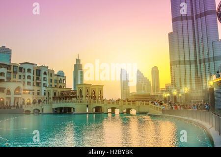 Burj Khalifa Lake Dubai - Stock Photo