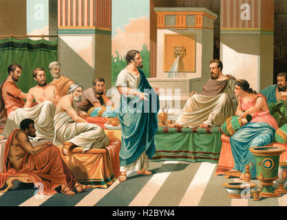 A banquet attended by the Seven Sages of Greece.  Periander, Thales, Solon, Cleobulus, Chilon, Bias, and Pittacus, - Stock Photo