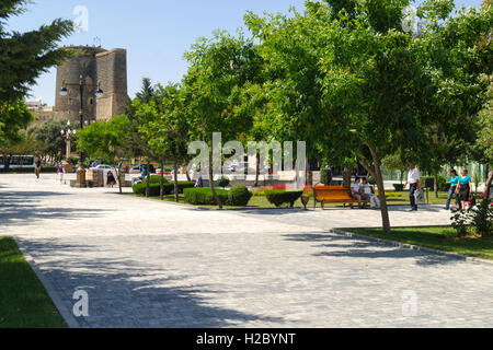 Azerbaijan, Baku. The Maiden Tower located in the Old City of Baku is an ancient tower built in the 12th century. - Stock Photo
