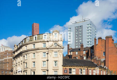 View over Leeds city centre buildings from railway station. Leeds, West Yorkshire, England, UK - Stock Photo