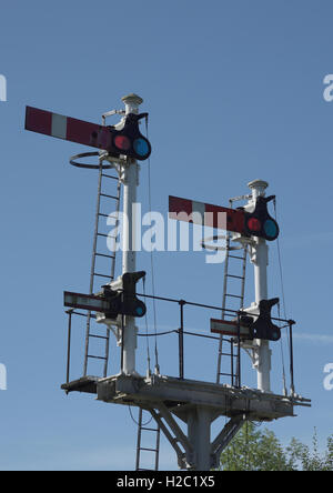 Railway semaphore signals at stop at the east lancashire railway in ramsbottom lancashire in ramsbottom lancashire - Stock Photo