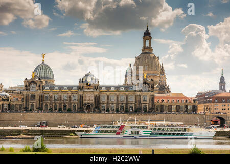DRESDEN, GERMANY - AUGUST 22: Tourists at the promenade of the river Elbe in Dresden, Germany on August 22, 2016. Dresden has al