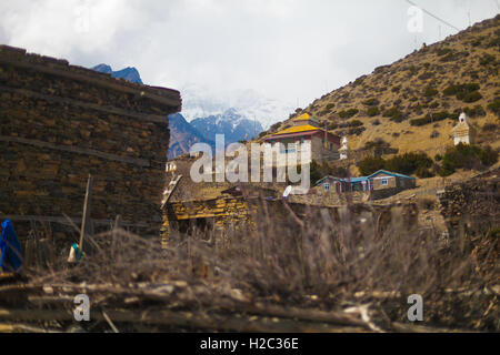 Landscape Photo Himalays Mountains Spring Village.Asia Nature Morning Viewpoint.Mountain Trekking View.Horizontal - Stock Photo