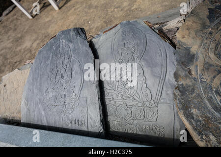 Closeup Photo Autentic Draw Stone Budda Symbols and Mantras. Horizontal. Nepal Travel Trakking - Stock Photo