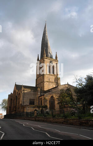 Chesterfield parish church with crooked spire - Stock Photo