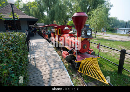 The well-known Centreville miniature train ride at Centreville amusement park on the Toronto Island park. Toronto - Stock Photo