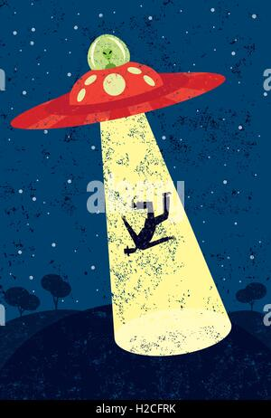 Alien Abduction A Martian in a flying saucer abducting a man. - Stock Photo