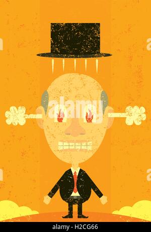 Steaming mad businessman An angry man with steam coming out of his ears and fire in his eyes. - Stock Photo