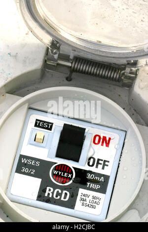 wet discarded electrical safety trip switch - Stock Photo