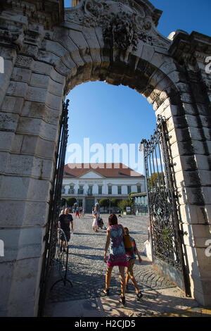 Entrance gate to the Royal Palace, Castle Hill, Buda Castle, Budapest, Hungary, Europe - Stock Photo