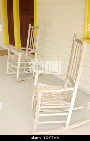 Two old rocking chairs on porch at Rosedale Plantation in Charlotte, NC - Stock Photo