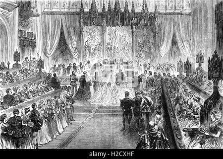 The wedding at St George's Chapel, Windsor Castle, of the Prince of Wales (1841 – 1910), who became King Edward - Stock Photo