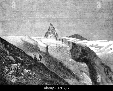 19th Century sketch of mountain guides viewing the  Matterhorn,  a mountain of the Alps, straddling the main watershed - Stock Photo