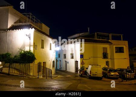 Street at night in Spanish white village, Mijas, Andalusia, Spain. - Stock Photo