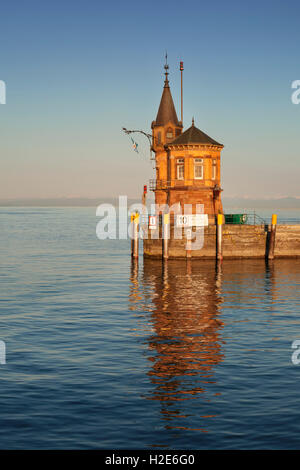 Harbour entrance, old harbour tower, Constance, Lake Constance, Baden-Württemberg, Germany - Stock Photo