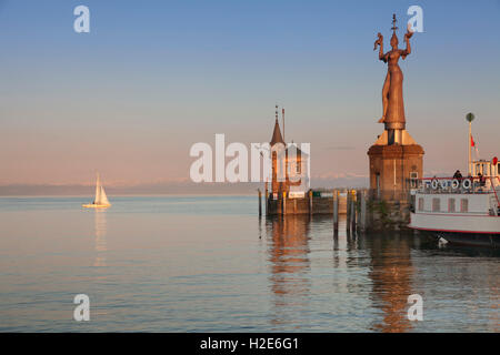 Harbour entrance, old harbour tower and Imperia statue by Peter Lenk, Constance, Lake Constance, Baden-Württemberg, - Stock Photo