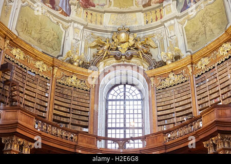 Vienna, Austria - August 14, 2016: The State Hall (Prunksaal) is the heart of the Austrian National Library. - Stock Photo