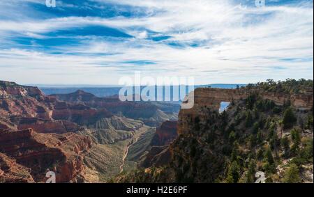 Angel Window, Bright Angel Point, North Rim, Grand Canyon National Park, Arizona, USA - Stock Photo