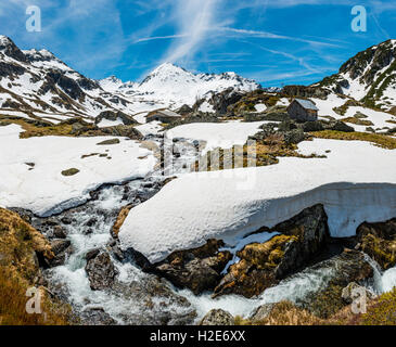 Giglachbach, mountain creek with cabin,mountain landscape with snow , Rohrmoos-Untertal, Schladming Tauern, Schladming, - Stock Photo