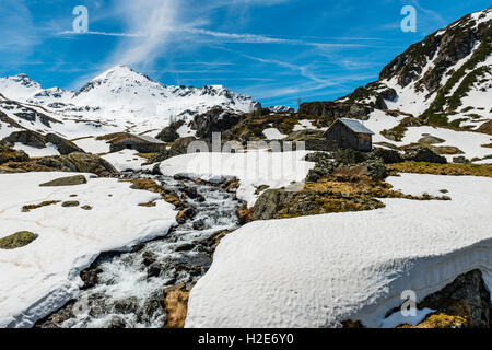 Giglachbach, mountain creek with cabin, mountain landscape with snow, Rohrmoos-Untertal, Schladming Tauern, Schladming, - Stock Photo