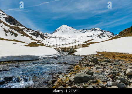 Giglachbach, mountain with mountain landscape with snow , Rohrmoos-Untertal, Schladming Tauern, Schladming, Styria, - Stock Photo