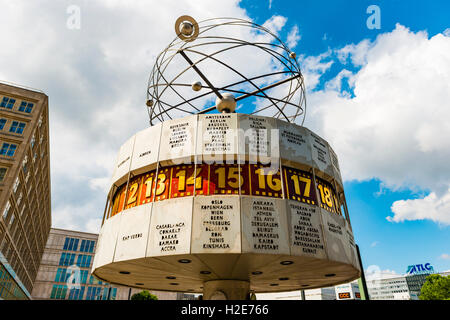 Urania World Clock, Alexanderplatz, Berlin-Mitte, Berlin, Germany - Stock Photo