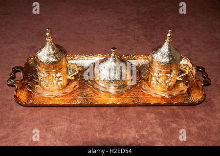 Turkish coffee set on the brown floor - Stock Photo