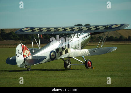 Hawker Fury standing on the grass at Duxford Airfield, Cambridgeshire, UK - Stock Photo