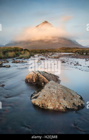 Cloud swathed Buachaille Etive Mor and the River Etive at dawn, Glen Coe, Scottish Highlands, Scotland - Stock Photo